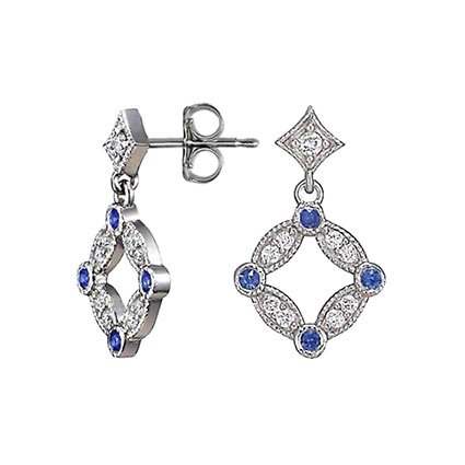 18K White Gold Tiara Diamond and Sapphire Stud Earrings, top view