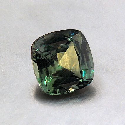 6.5mm Premium Green Cushion Sapphire, top view