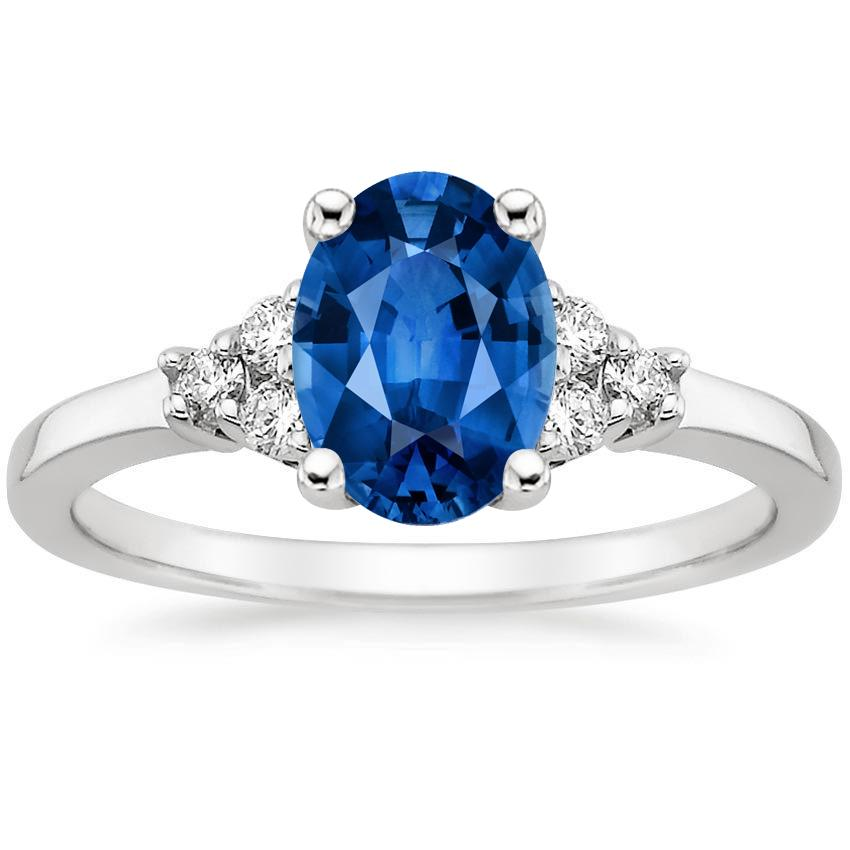 18K White Gold Sapphire Trio Diamond Ring, top view