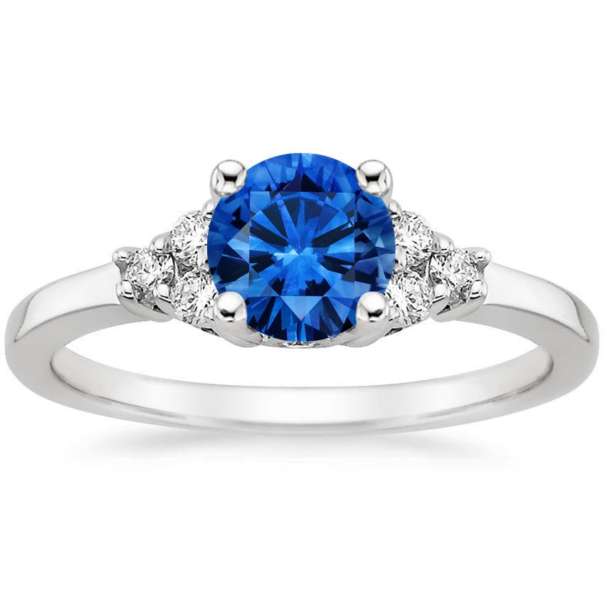 Sapphire Trio Diamond Ring in 18K White Gold with 6mm Round Blue Sapphire