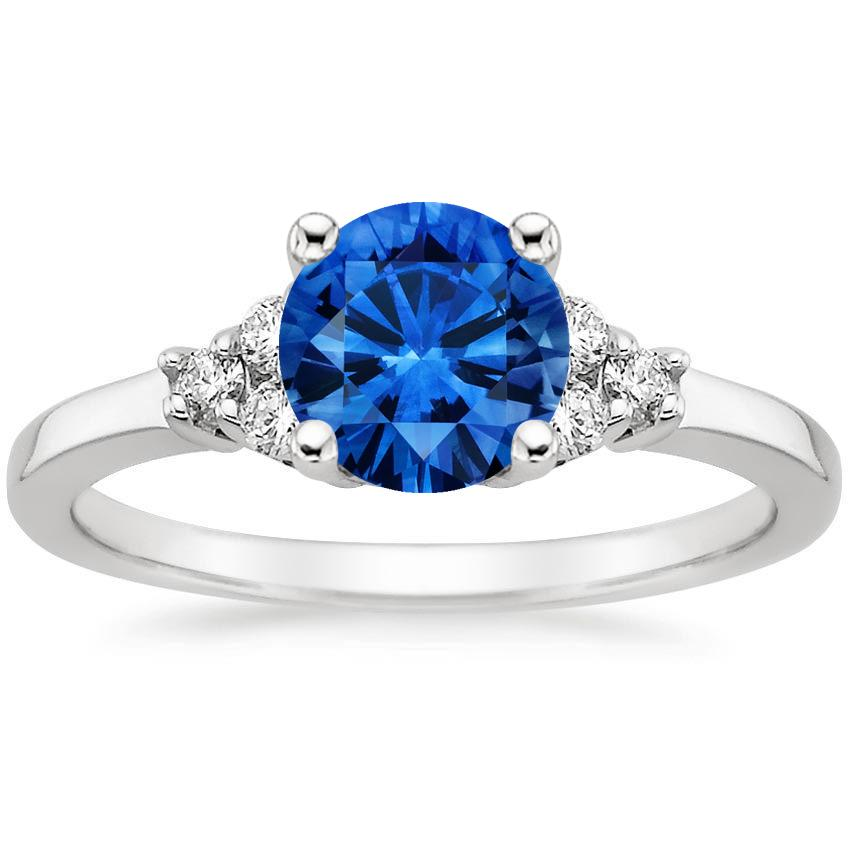 Sapphire Trio Diamond Ring in Platinum with 6.5mm Round Blue Sapphire