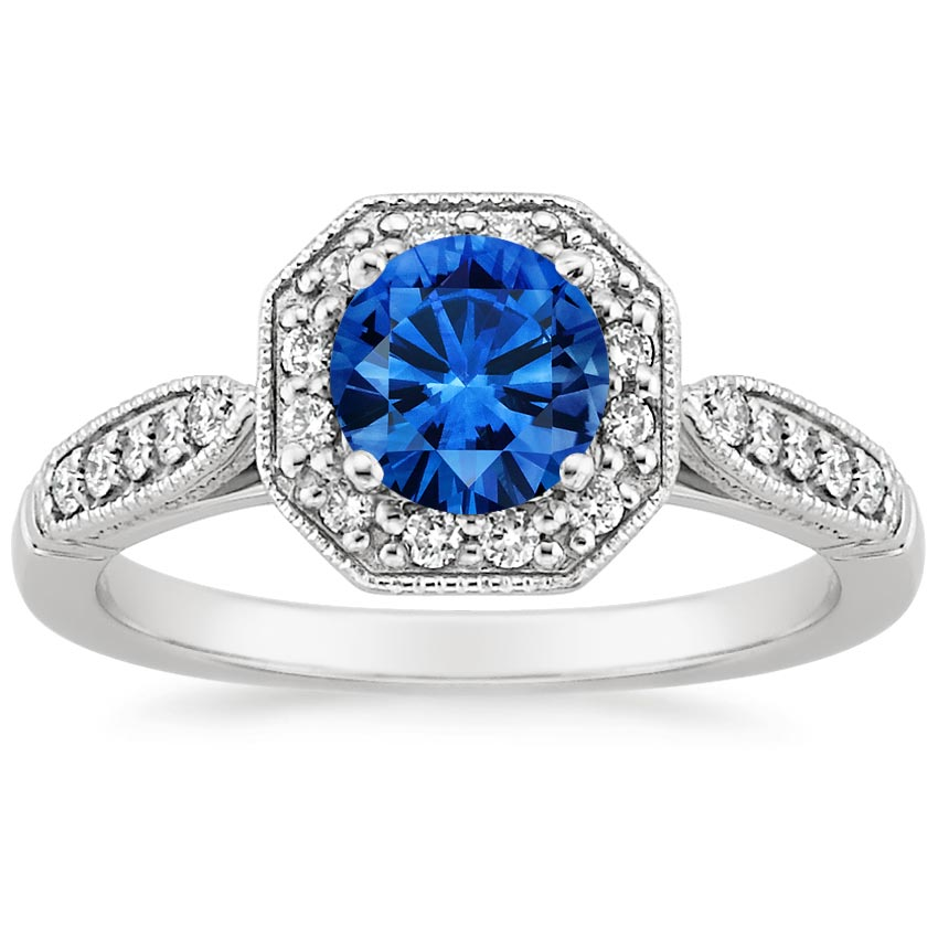 Sapphire Victorian Halo Diamond Ring in Platinum with 6mm Round Blue Sapphire