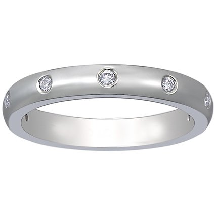 18K White Gold Flush Set Diamond Ring (1/10 ct.tw.), top view