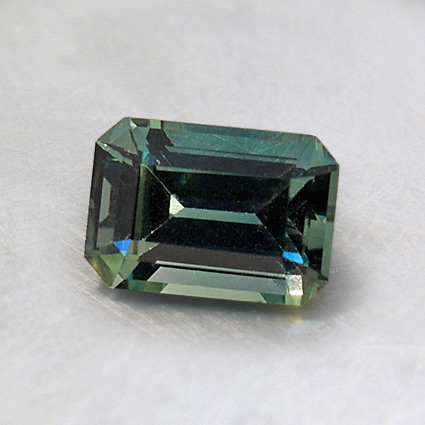 6.5X4.5mm Teal Emerald Sapphire, top view