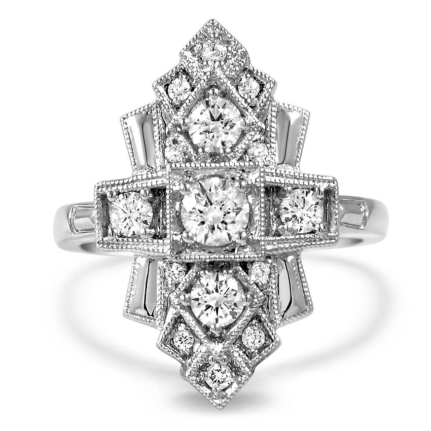 Custom Art Deco Inspired Diamond Ring