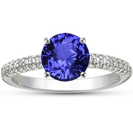 Sapphire Allegra Diamond Ring in 18K White Gold with 6.5mm Round Blue Sapphire