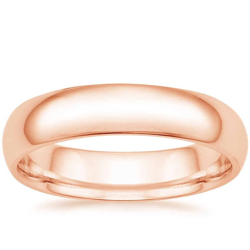 14K Rose Gold 5mm Comfort Fit Wedding Ring, top view
