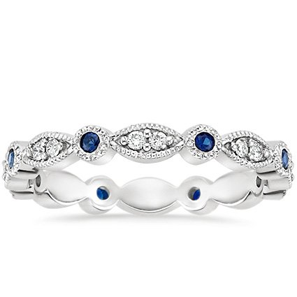 18K White Gold Tiara Eternity Diamond and Sapphire Ring, top view