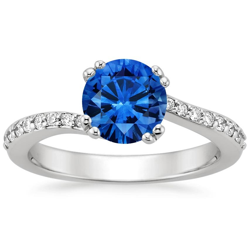 Platinum Sapphire Seacrest Ring with Diamond Accents, top view