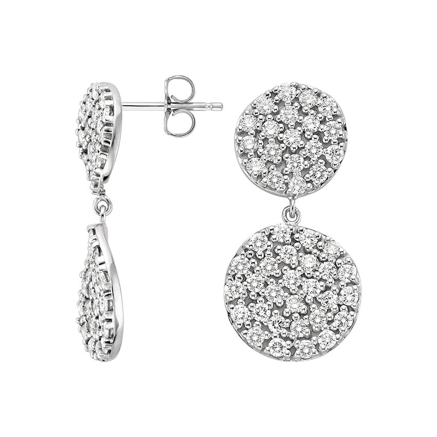 18K White Gold Luxe Pavé Wave Earrings, top view