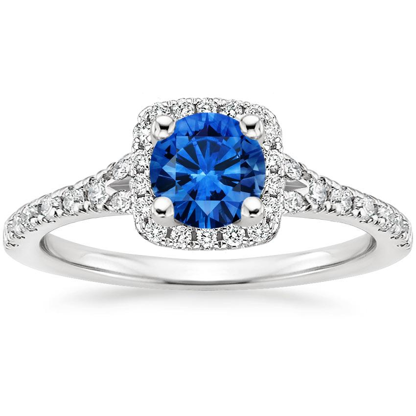 Sapphire Joy Diamond Ring in 18K White Gold with 5.5mm Round Blue Sapphire