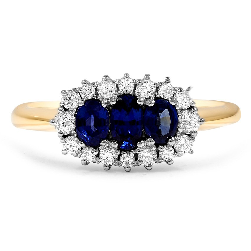 Custom Three Stone Sapphire and Diamond Halo Ring