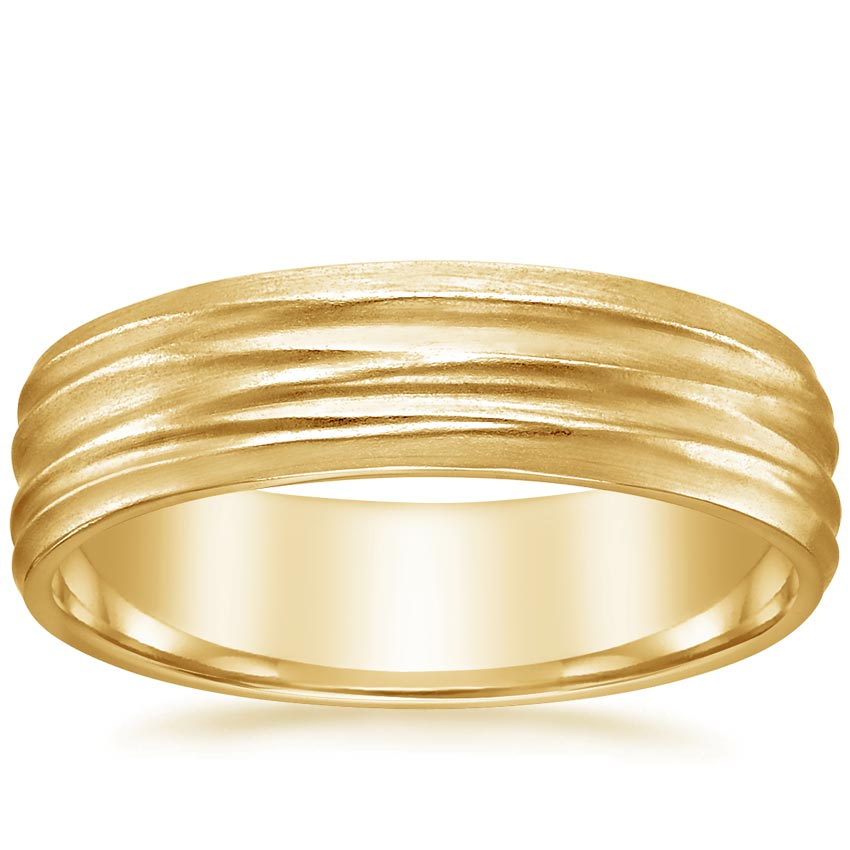 Yellow Gold Horizontal Hammered Ring