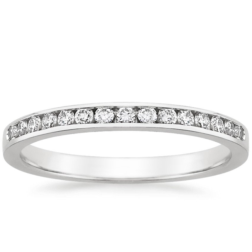 18K White Gold Petite Channel Set Round Diamond Ring (1/4 ct. tw.), top view