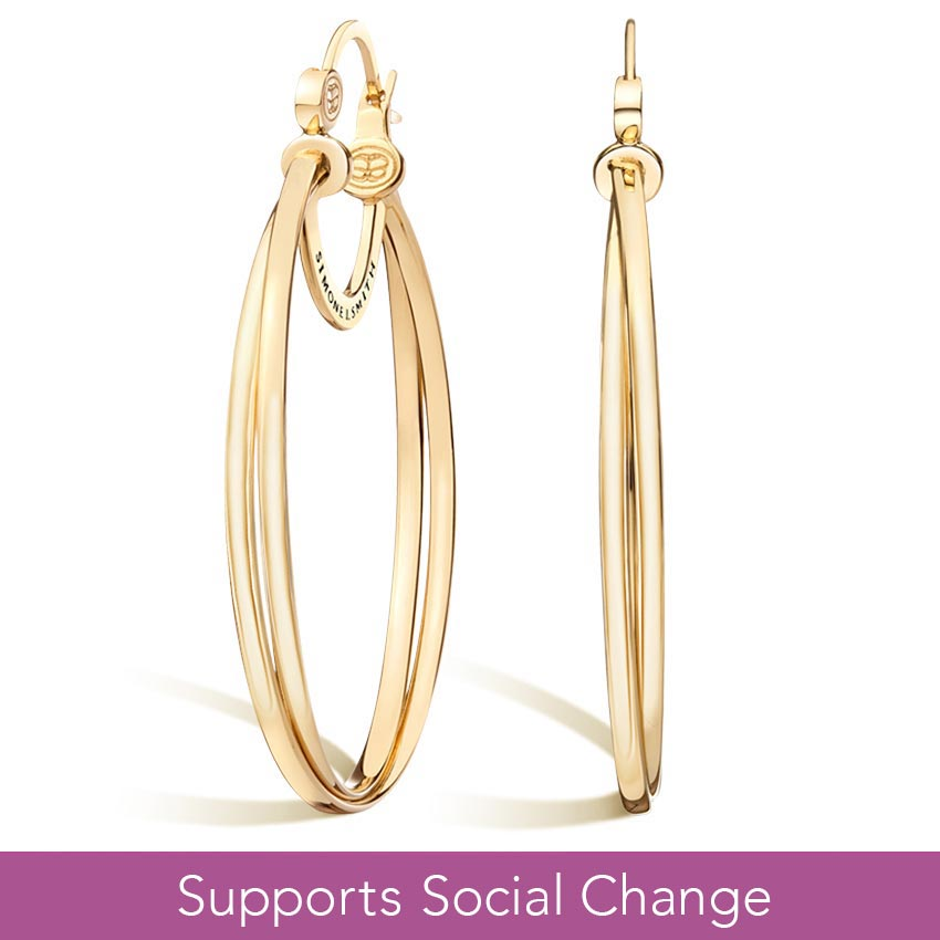 Simone I. Smith Crossover Hoop Earrings in 14K Yellow Gold Vermeil