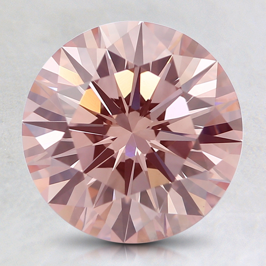 2.22 Ct. Fancy Orangy Pink Round Lab Created Diamond