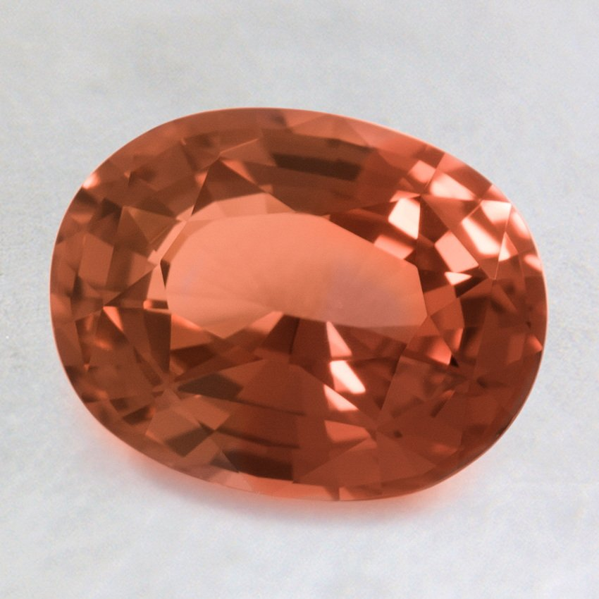 8.5x6.5mm Premium Peach Oval Sapphire, top view