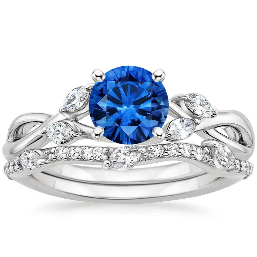 Sapphire Willow Diamond Ring With Luxe Willow Diamond Wedding Ring (1/3 Ct. Tw.) In 18K White Gold