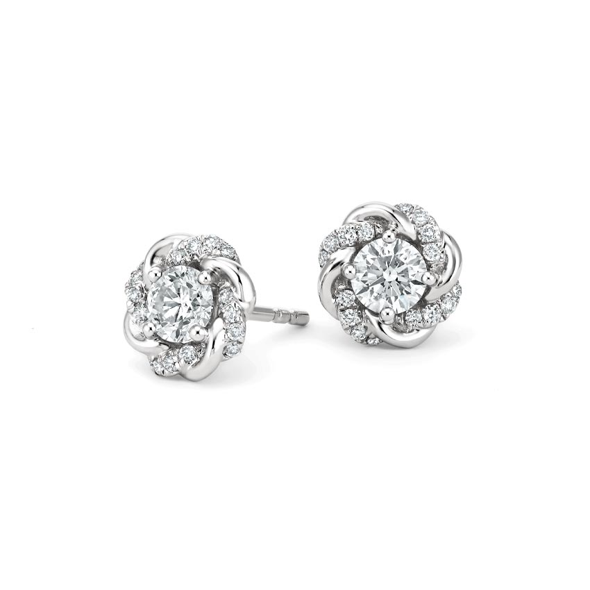 18K White Gold Oceana Earrings, top view