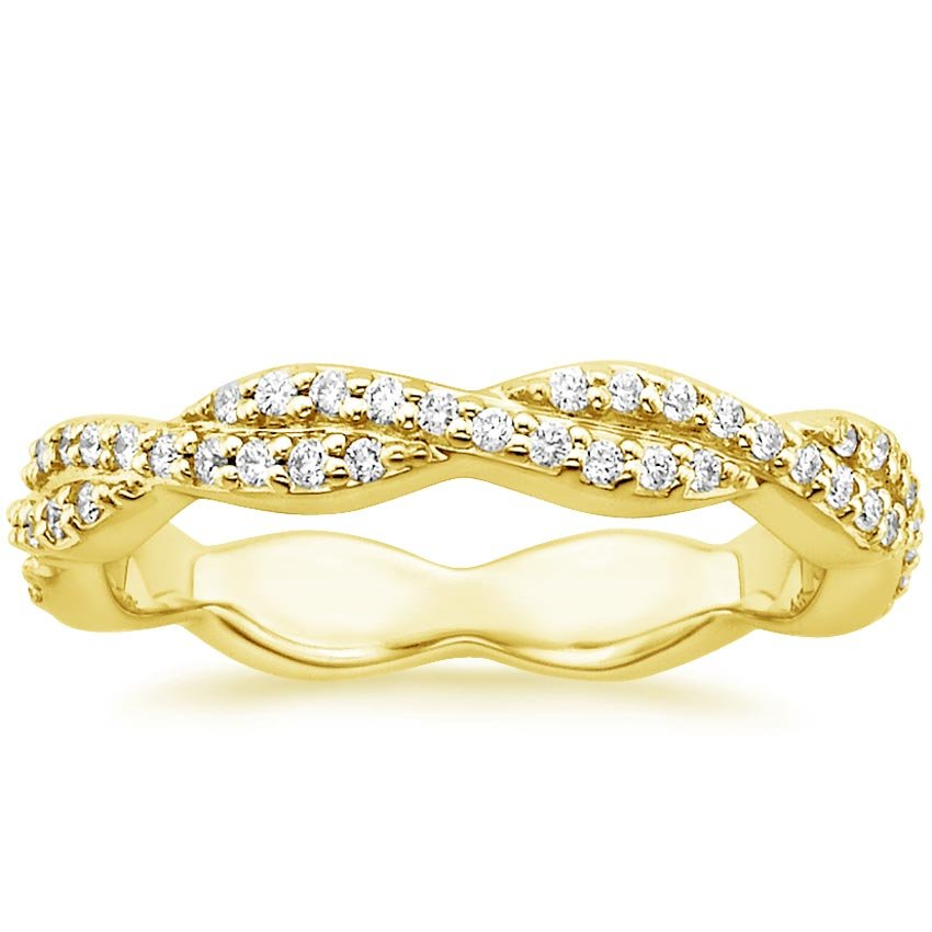 18K Yellow Gold Luxe Eternity Twisted Vine Diamond Ring, top view