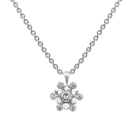 Snowflake Diamond Pendant (over 3/4 ct.tw.) in 18K White Gold