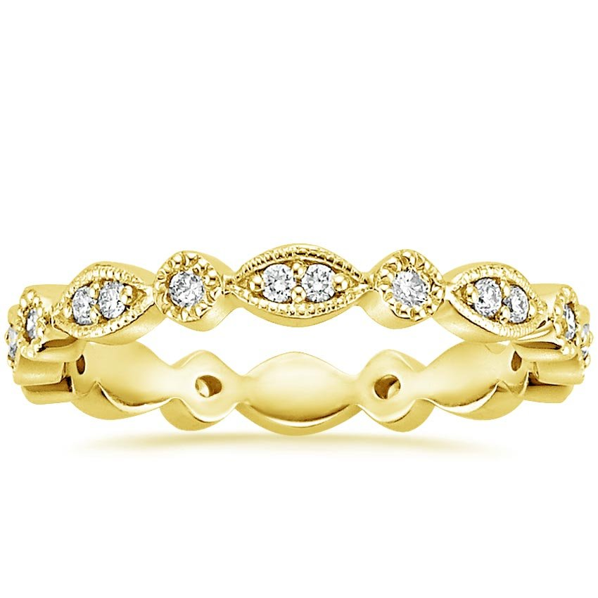18K Yellow Gold Tiara Eternity Diamond Ring, top view