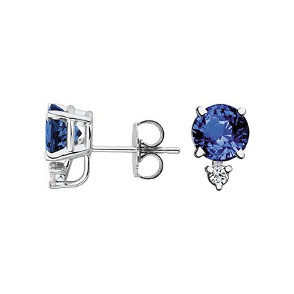 18K White Gold Sapphire and Diamond Stud Earrings (6mm, 2 ct. tw.), top view