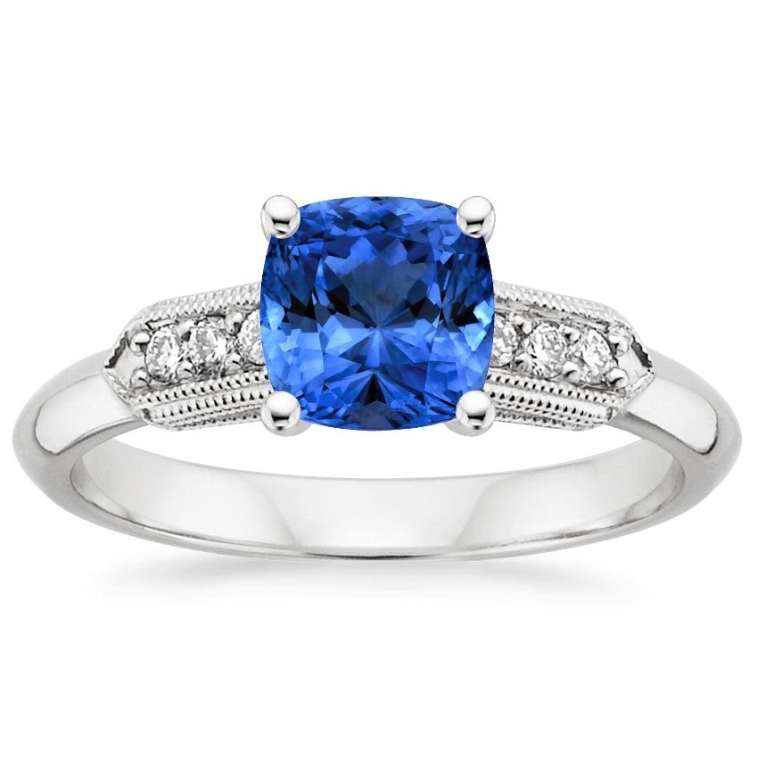 Sapphire Antique Nouveau Diamond Ring in Platinum with 6x6mm Cushion Blue Sapphire