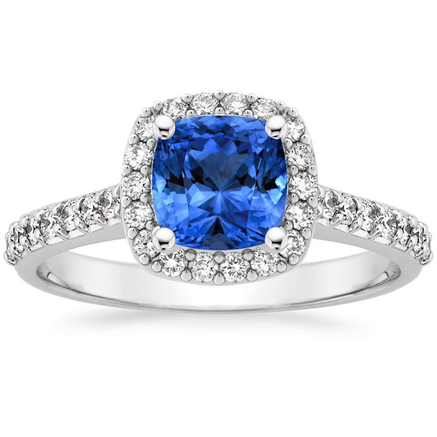 Sapphire Fancy Halo Diamond Ring With Side Stones In
