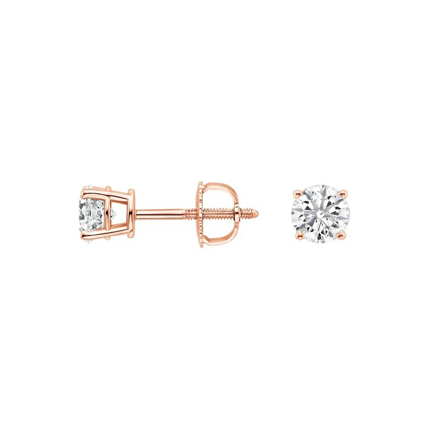 14K Rose Gold Round Diamond Stud Earrings (1/2 ct. tw.), top view