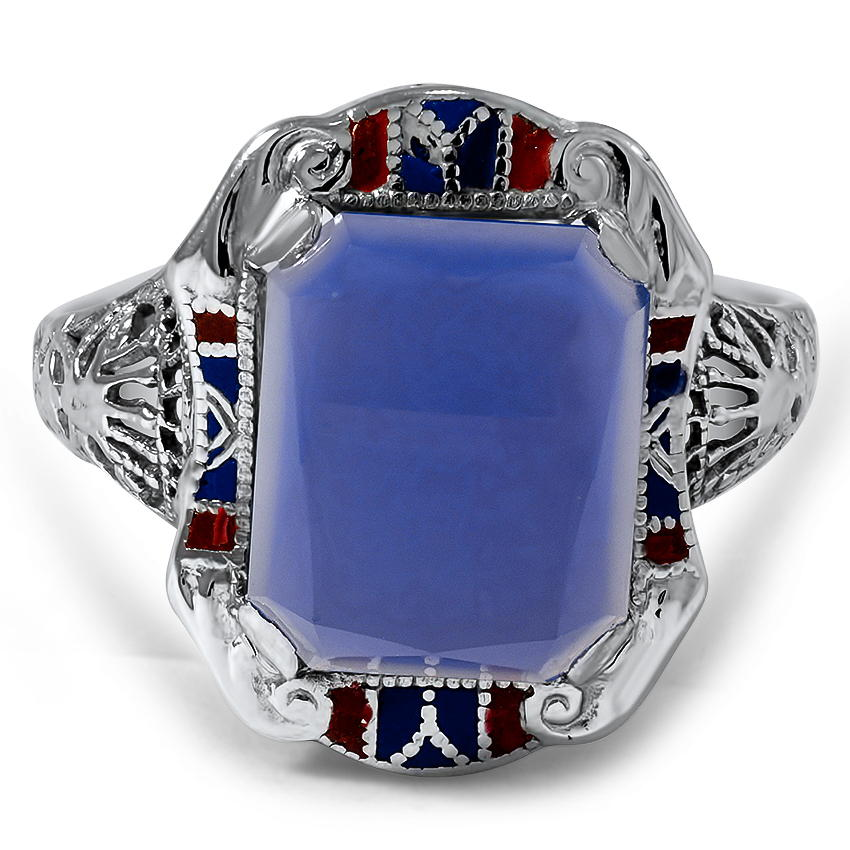 Art Deco Dyed Chalcedony Cocktail Ring