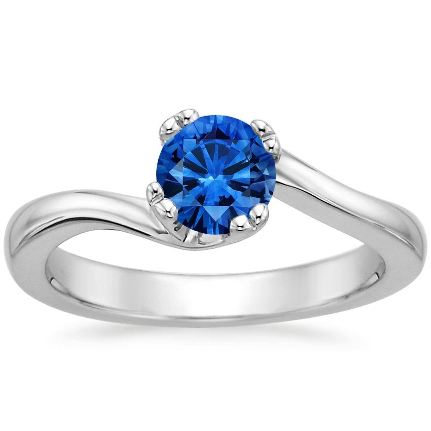 Sapphire Seacrest Ring in 18K White Gold with 5.5mm Round Blue Sapphire