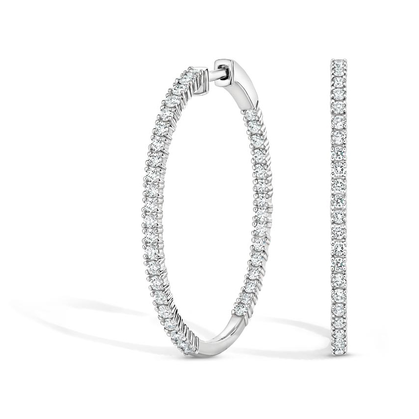 Lab Created Diamond Hoop Earrings