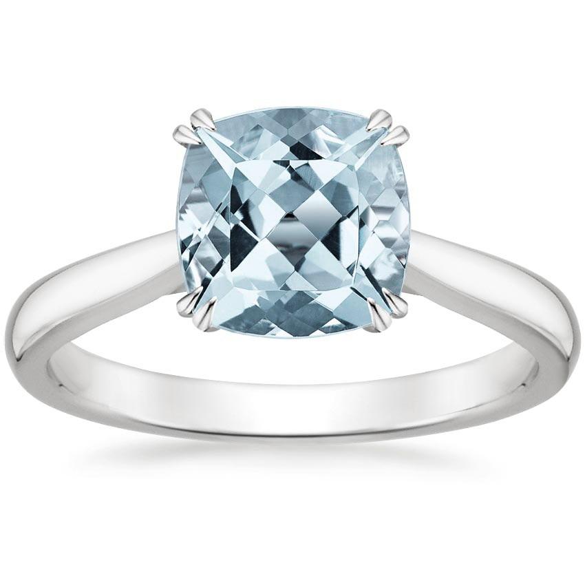 aquamarine ring in 18k white gold brilliant earth