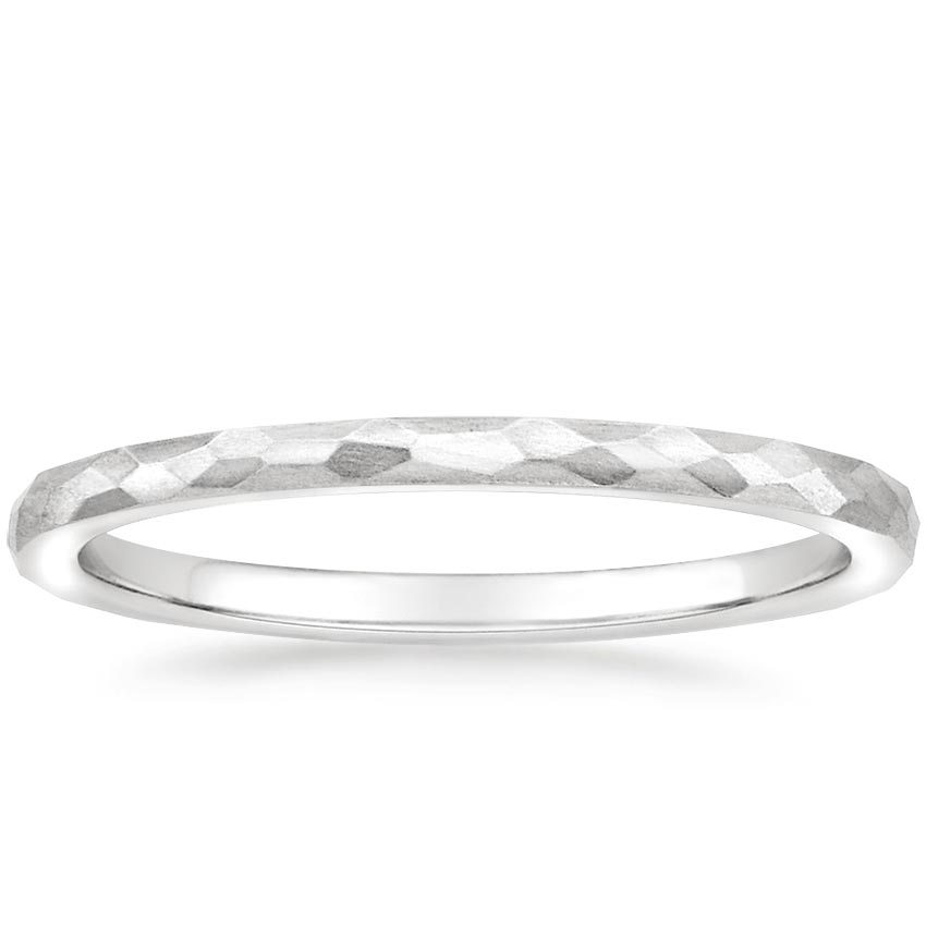Matte Hammered Petite Comfort Fit Wedding Ring in 18K White Gold