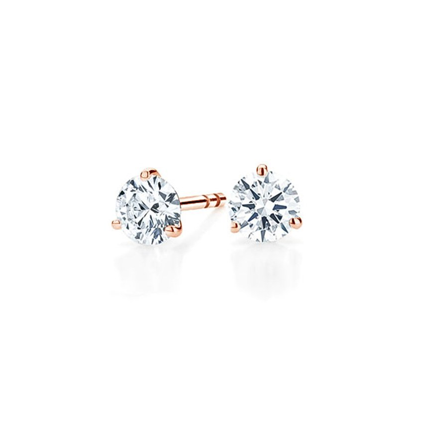 14K Rose Gold Three-prong Martini Round Diamond Stud Earrings, top view