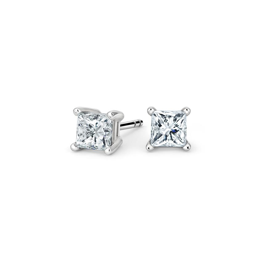 Princess Diamond Stud Earrings (1 ct. tw.) in 18K White Gold