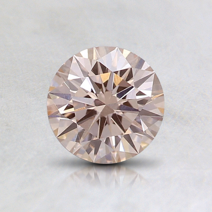 0.65 Ct.Fancy Light Orangy Pink Round Lab Created Diamond