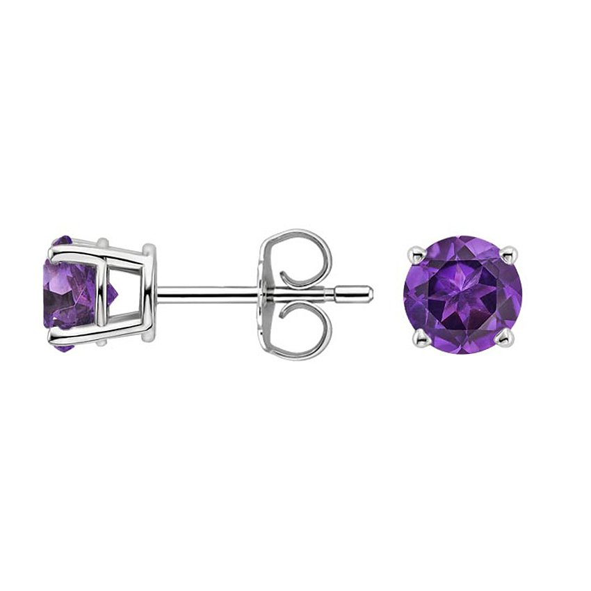Top Twenty Gifts - SILVER AMETHYST STUD EARRINGS (6MM)