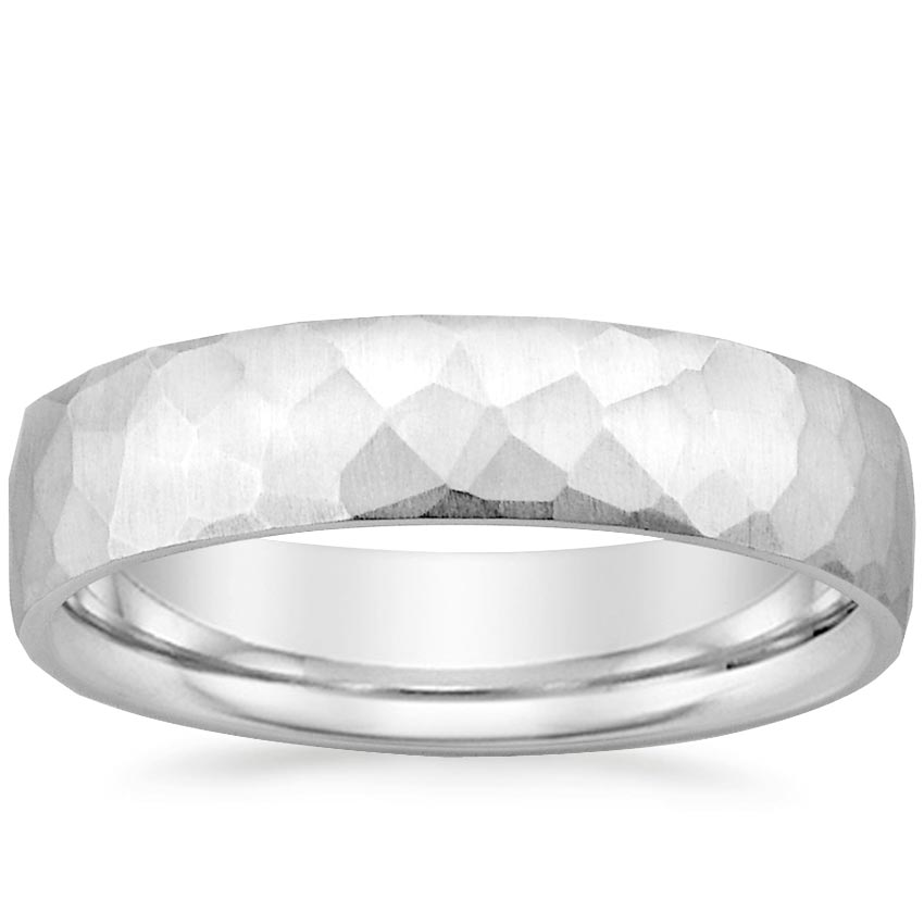 Mens Wedding Band.18k White Gold Everest Wedding Ring