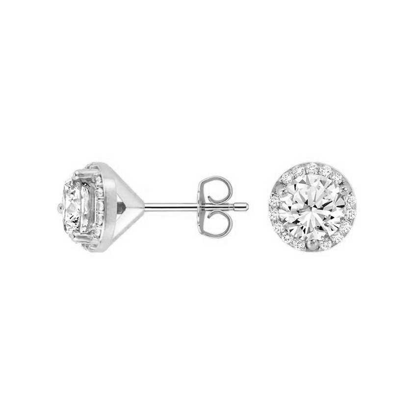 halo front prong earrings gold stud diamond white nk