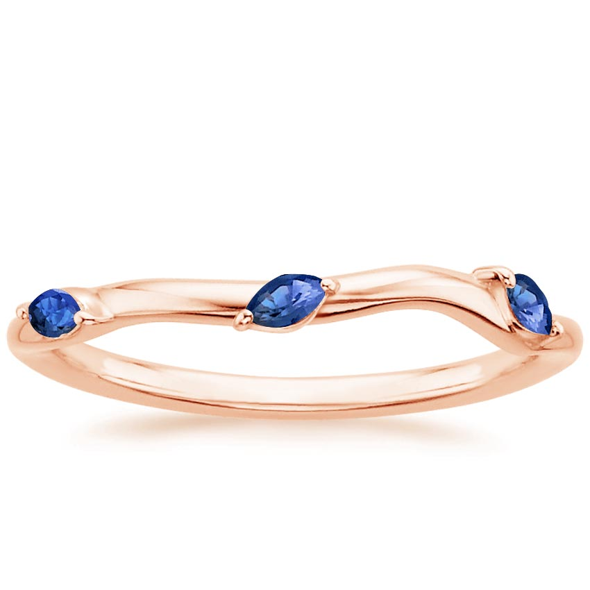 Rose Gold Willow Contoured Ring With Sapphire Accents