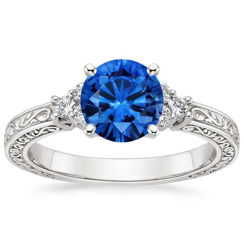 18K White Gold Sapphire Adorned Trio Diamond Ring, top view