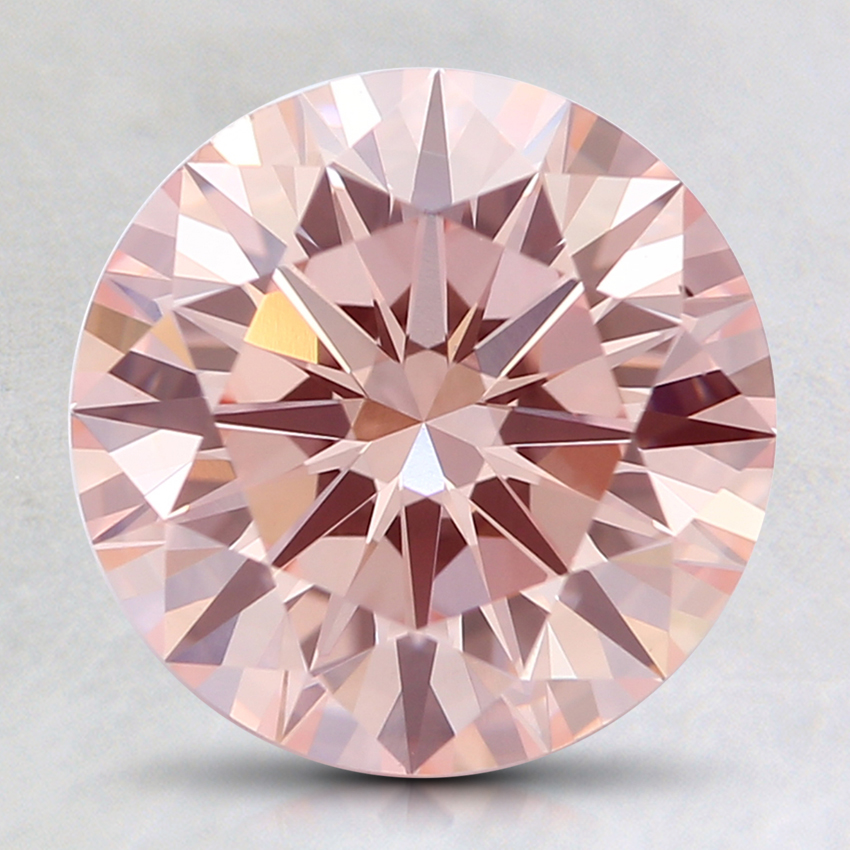 2.29 Ct. Fancy Light Orangy Pink Round Lab Created Diamond