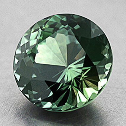 7.5mm Green Unheated Round Sapphire, top view
