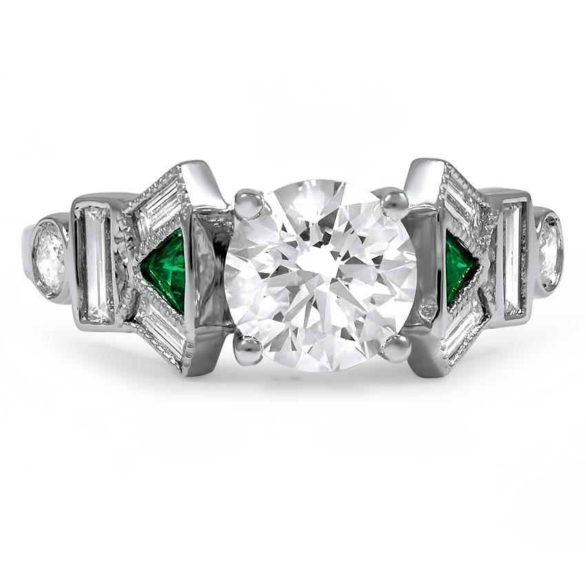 Custom Contemporary Emerald and Baguette Diamond Ring