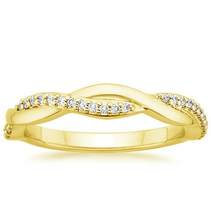 18K Yellow Gold Twisted Vine Diamond Ring, top view