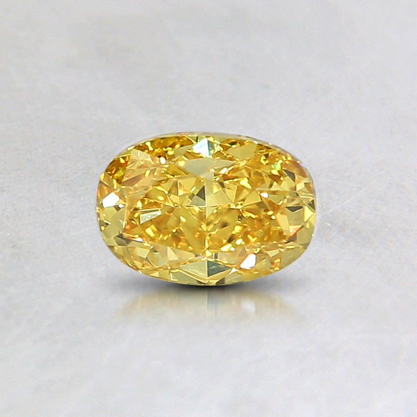 0.52 Ct. Natural Fancy Vivid Orangy Yellow Oval Diamond, top view