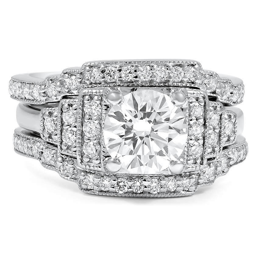 Custom Contoured Pave Milgrain Diamond Bridal Set