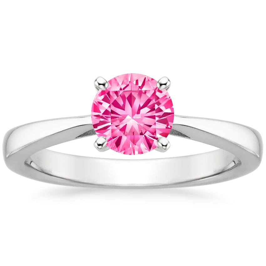 Sapphire Petite Tapered Trellis Ring in 18K White Gold with 6mm Round Pink Sapphire